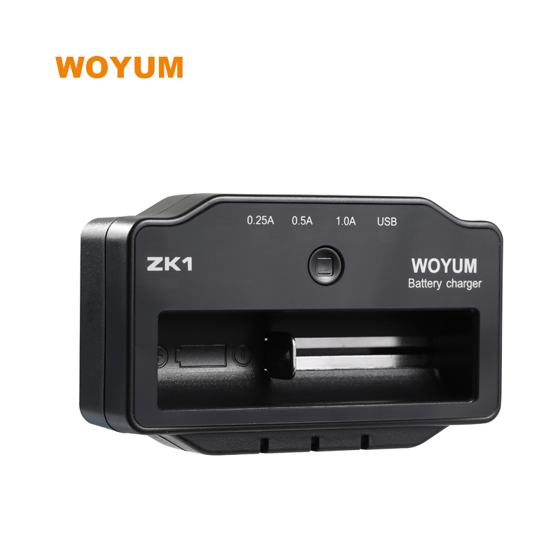 WOYUM Three charging current indicator lights 18650 AA AAA battery single slot battery charger WOYUM ZK1 best charger for vape battery