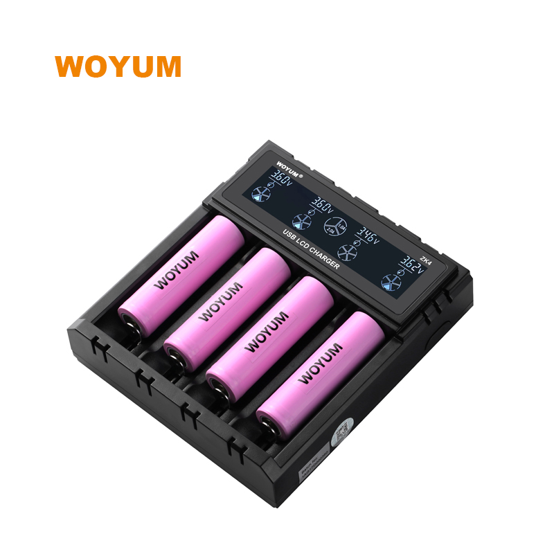 WOYUM ZK4 LCD intelligent battery Charger 4 slots For Li-ion / IMR / Ni-MH/ Ni-Cd  DC 12V  (Car) power adaptor