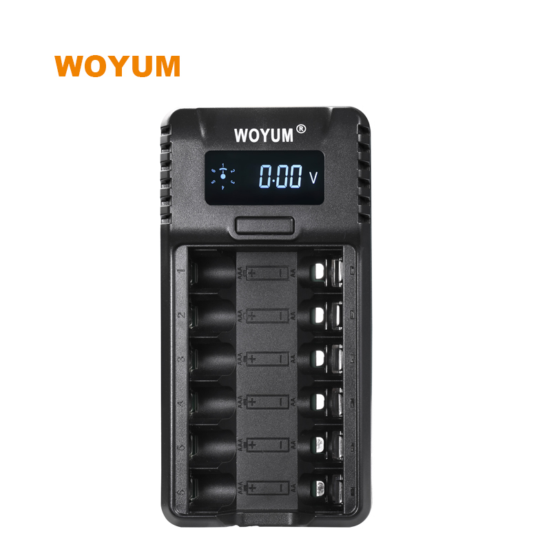 WOYUM ZK6 LCD Smart Battery Charger 6 slots for AA AAA Ni-MH Ni-CD Rechargeable Batteries