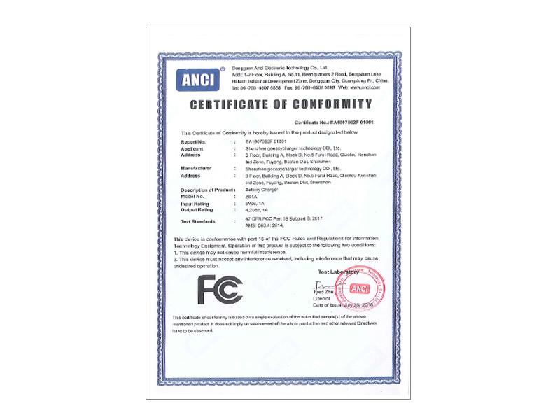 18AE07082F 001 FCC Cert.