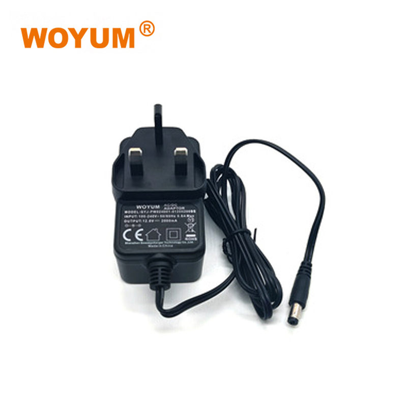 WOYUM DC 12V 2A Power Supply Adapter, AC 100-240V to DC 12Volt Transformers, Switching Power Source Adaptor for 12V electronic devices and power tools, 24W Max, UK Plug