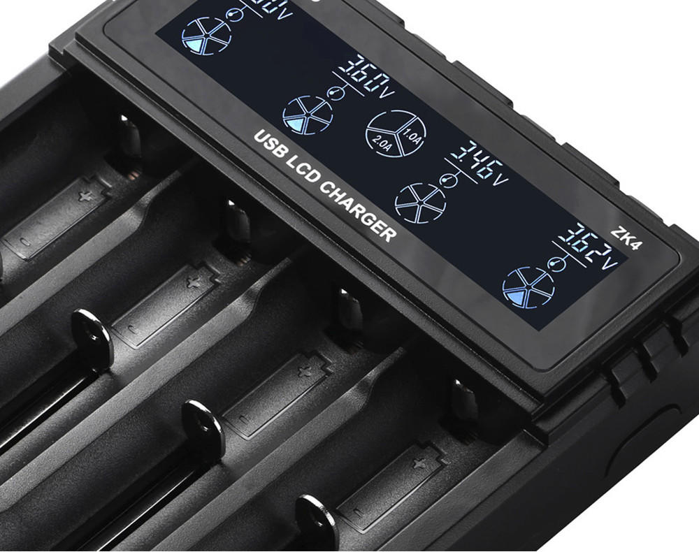 Woyum -Woyum Zk4 Lcd Intelligent Battery Charger 4 Slots For Li-ion Imr Ni-mh-2