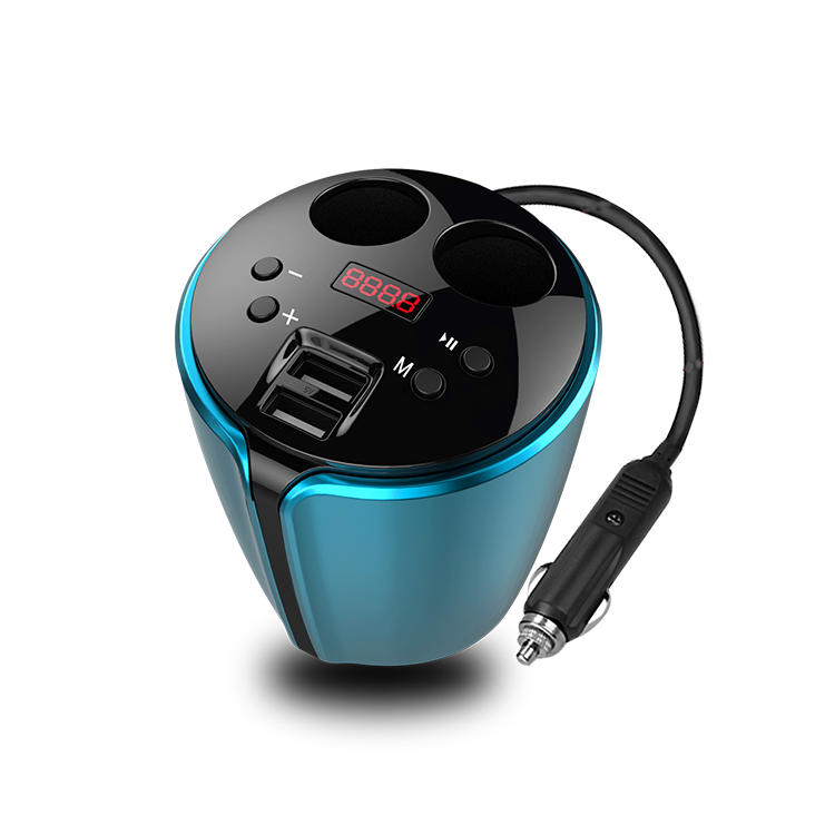Woyum -Bluetooth Fm Transmitter Cup Holder For Car,2 Socket Cigarette Lighter