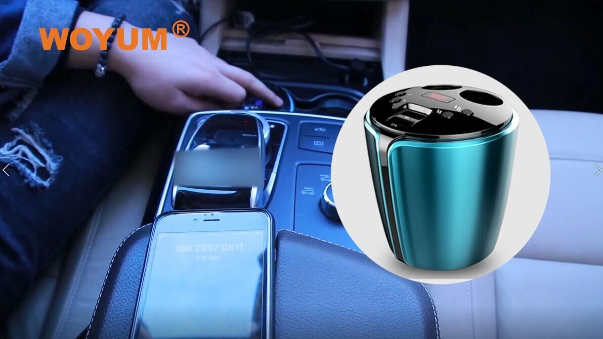 Bluetooth Fm transmitter Cup Holder for Car,2 Socket Cigarette Lighter