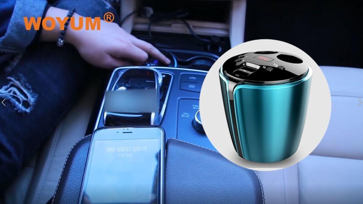Bluetooth Fm transmitter Cup Holder for Car,2 Socket Cigarette Lighter