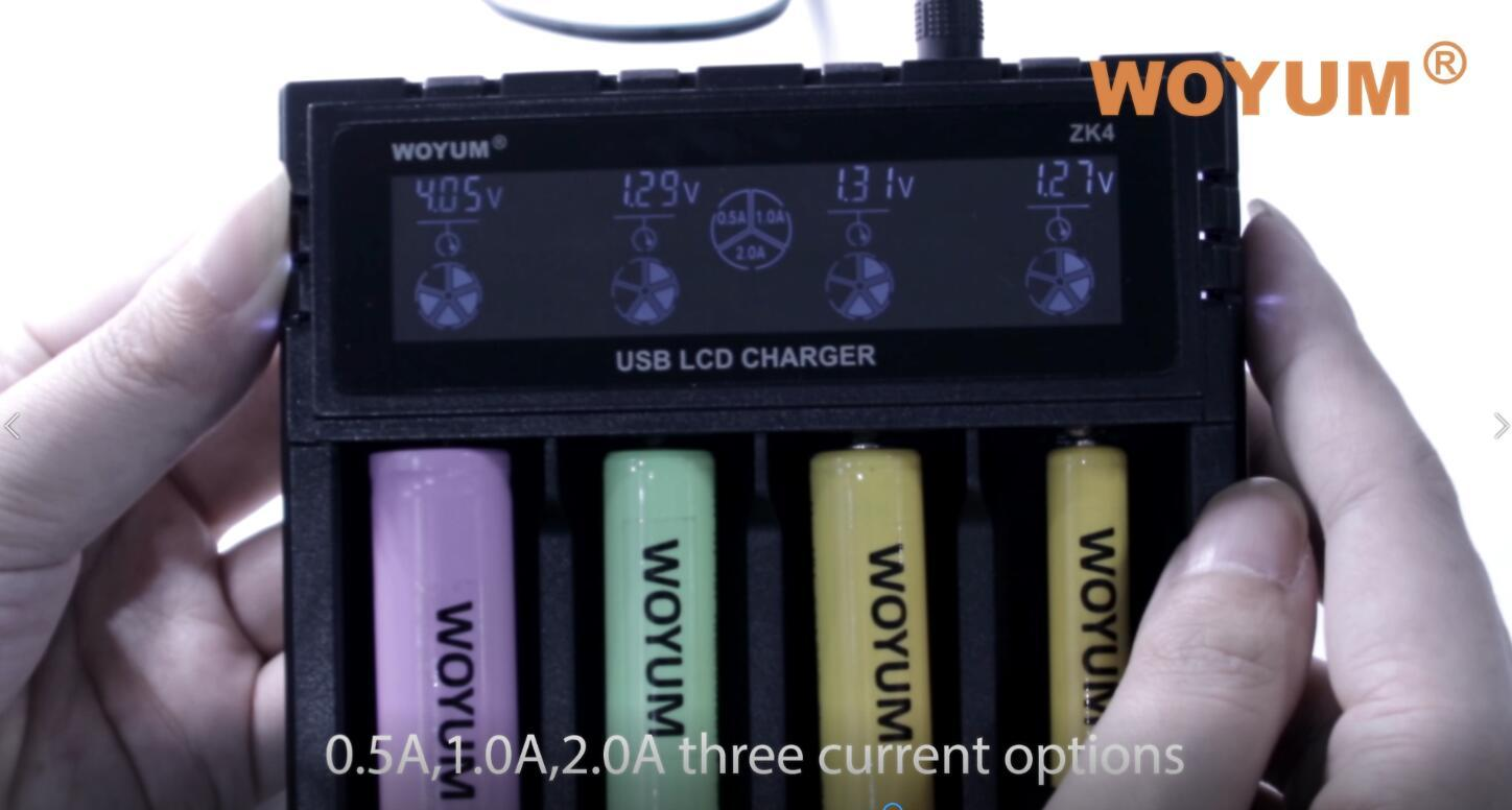 woyum zk4 4 slot 18650 charger 16340 battery charger 26650 battery charger