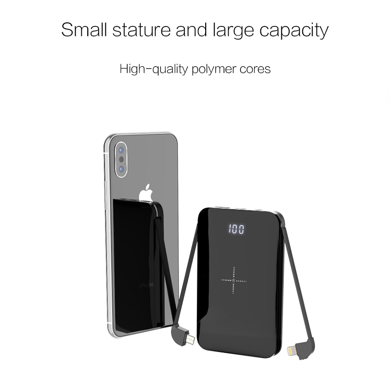 WOYUM Wireless Portable Charger,5000mAh Wireless Charger Power Bank Built in Cable External Battery Pack Compatible with iPhone 8/8 Plus,Samsung S7 S8 S9,Note 7 8,iPhone X/XS/XR