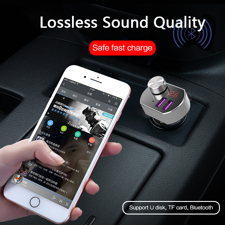 2-Port USB Car Charger Compatible with Car Music MP3, U-disk, TF Card,Bluetooth hands free, voice navigation playing