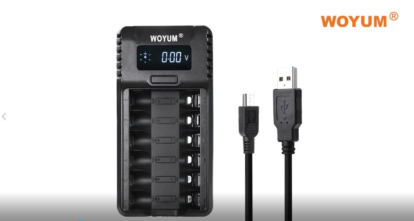 WOYUM Smart Rechargeable Battery Charger 6 Bay for Ni-MH/Ni-Cd AA AAA Rechargeable Battery