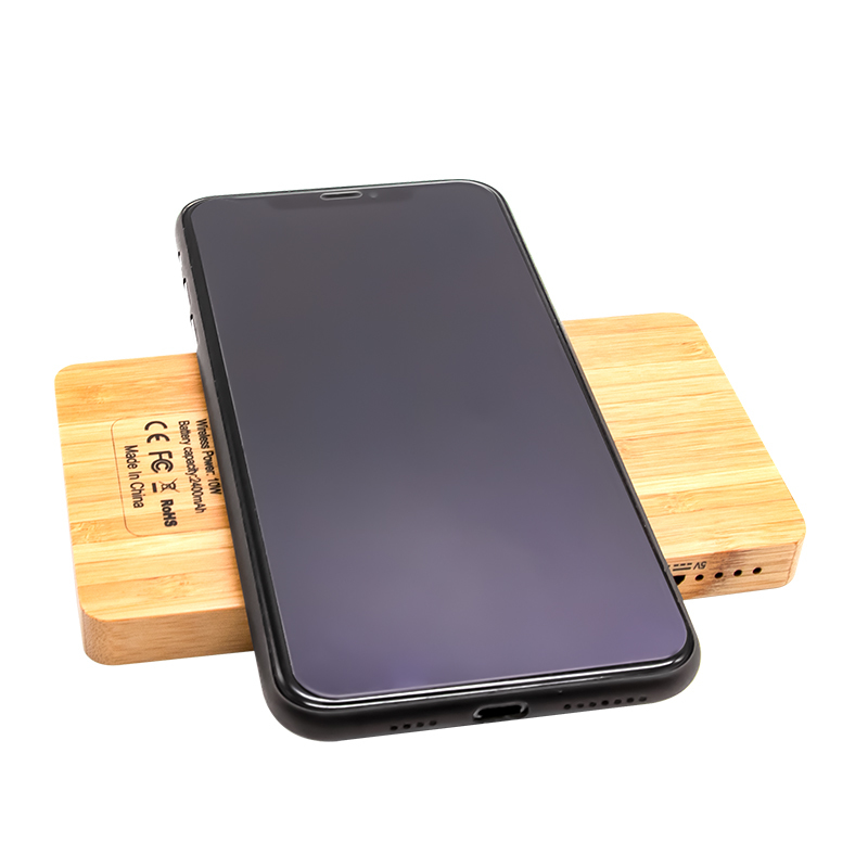 Wooden Wireless charger Fast Charging Qi Wireless Charger Power Bank with pen container