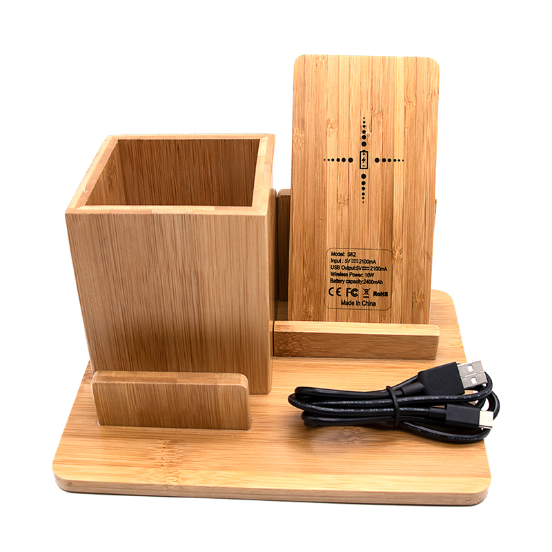 bamboo wood qi wireless charger wood power bank with Pen container
