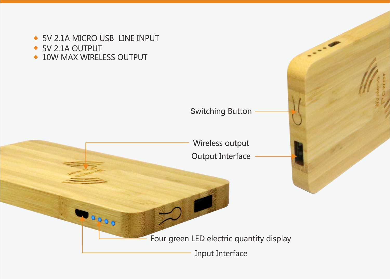 video-bamboo wood qi wireless charger wood power bank with Pen container-Woyum -img-2