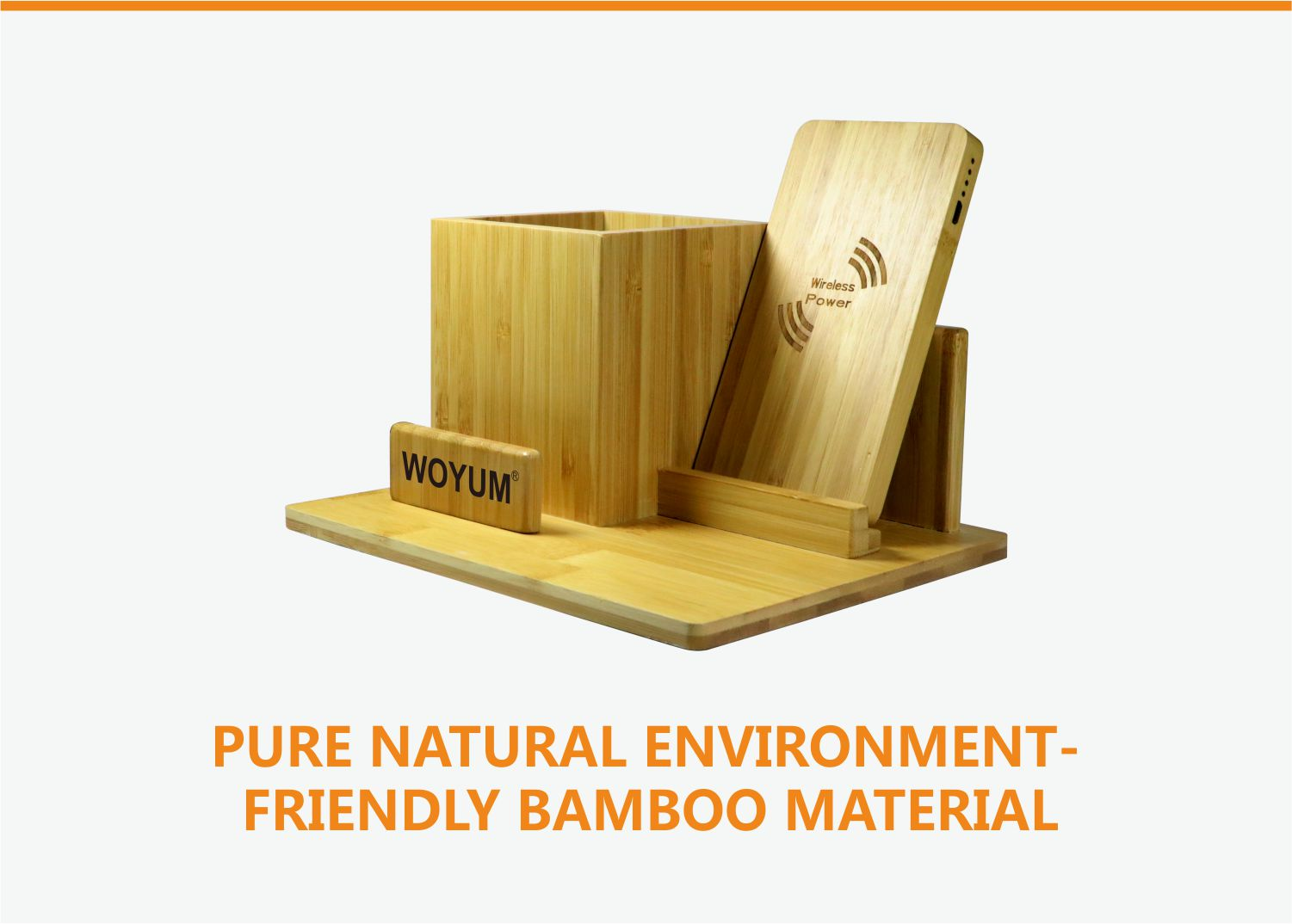 video-bamboo wood qi wireless charger wood power bank with Pen container-Woyum -img-1