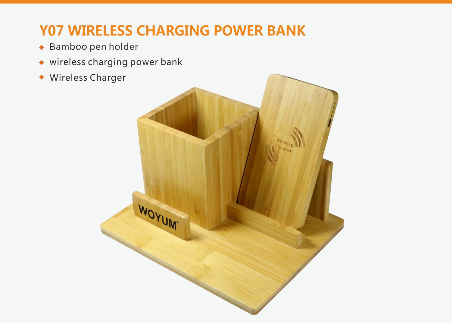 video-bamboo wood qi wireless charger wood power bank with Pen container-Woyum -img