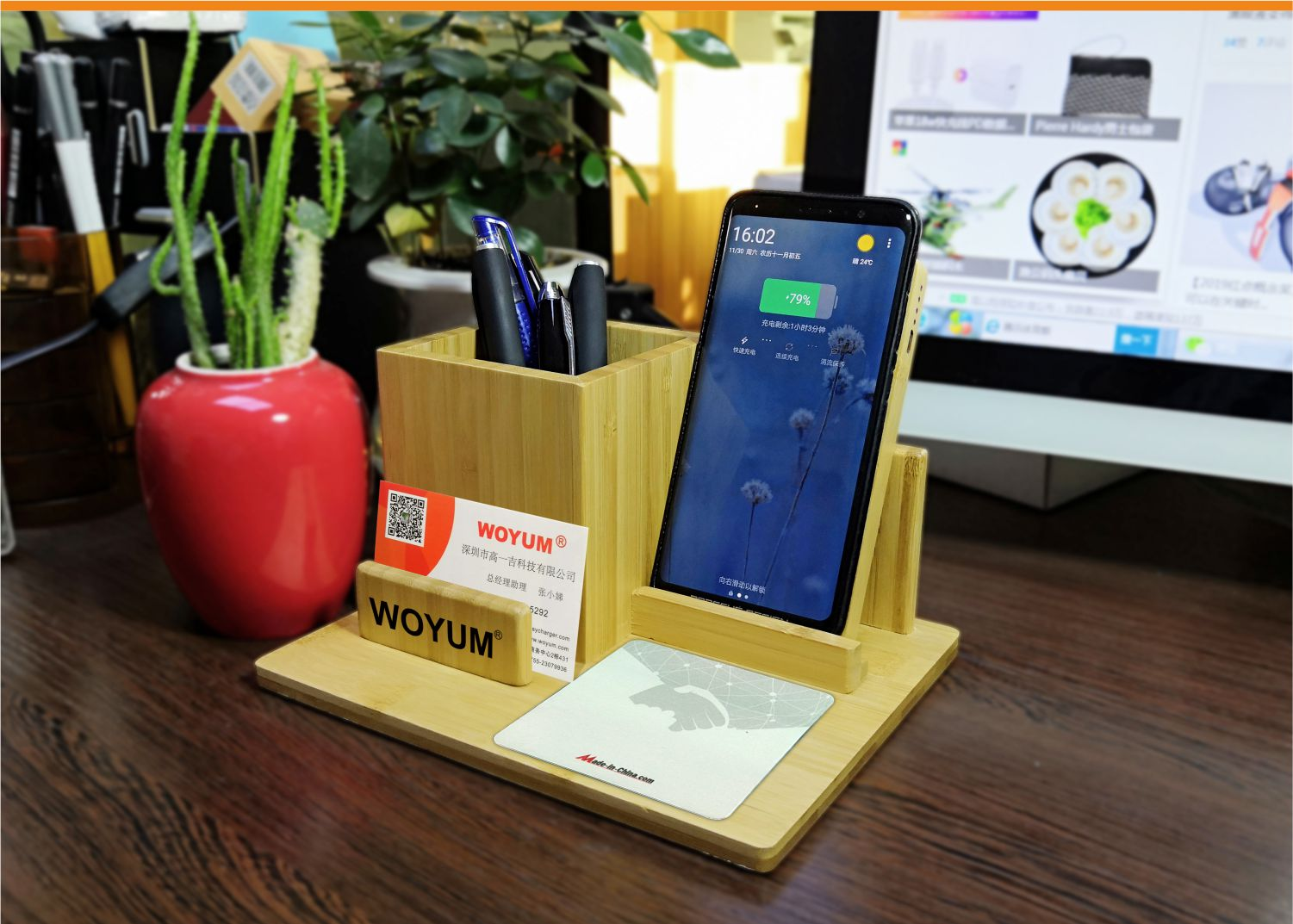 video-bamboo wood qi wireless charger wood power bank with Pen container-Woyum -img-4