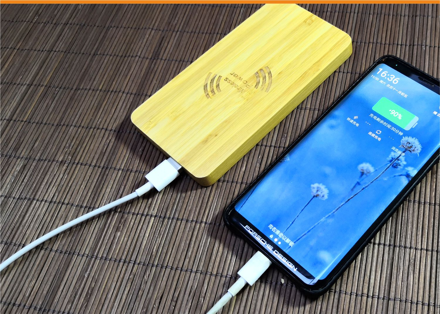 video-bamboo wood qi wireless charger wood power bank with Pen container-Woyum -img-5