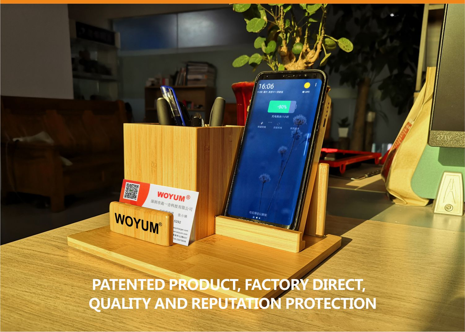 video-bamboo wood qi wireless charger wood power bank with Pen container-Woyum -img-6