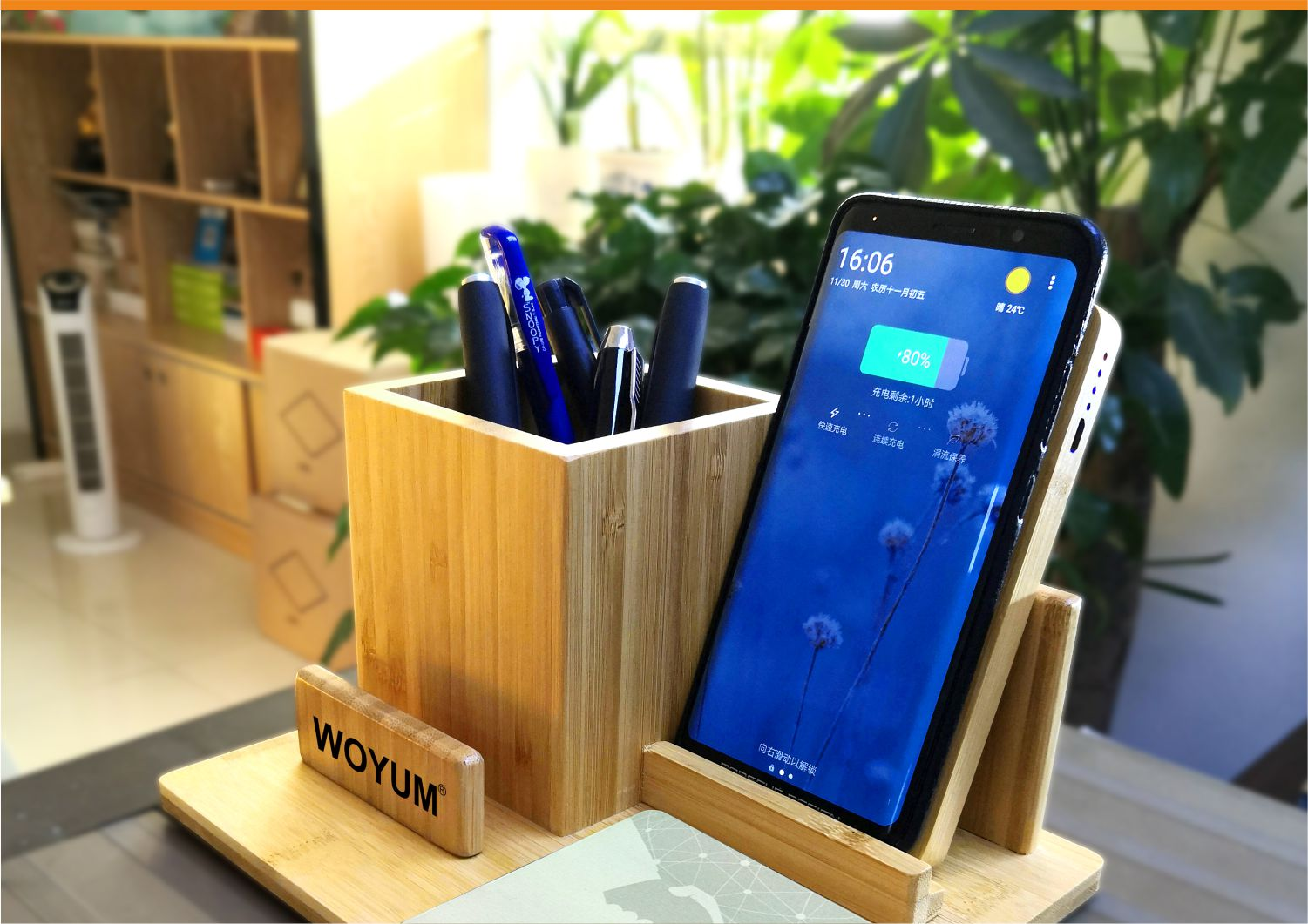 video-bamboo wood qi wireless charger wood power bank with Pen container-Woyum -img-8