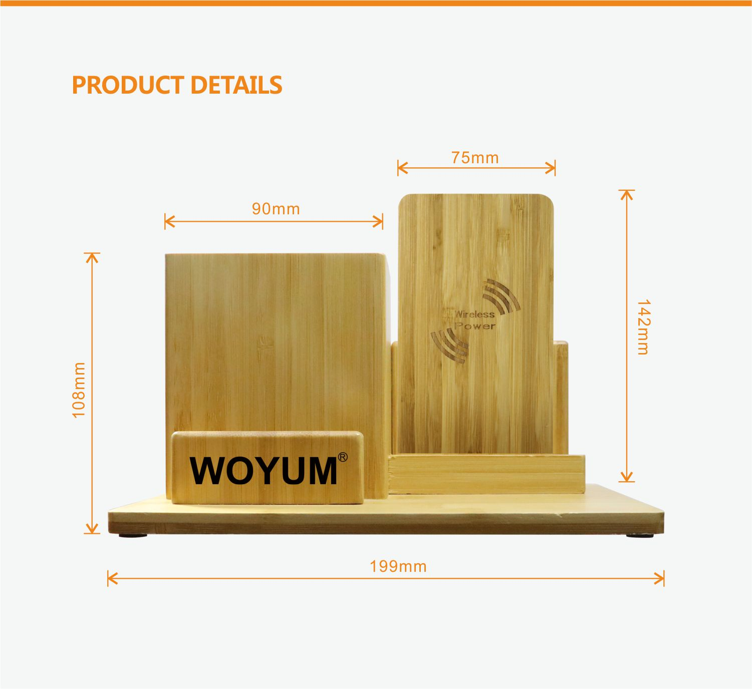 video-bamboo wood qi wireless charger wood power bank with Pen container-Woyum -img-9