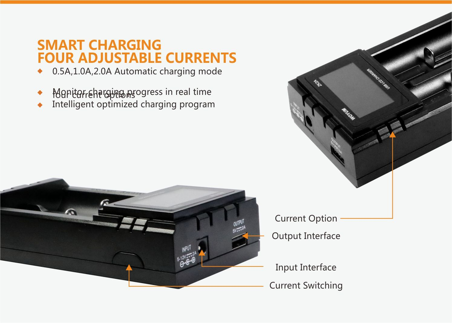 LCD ZK2A 2 Slots battery charger