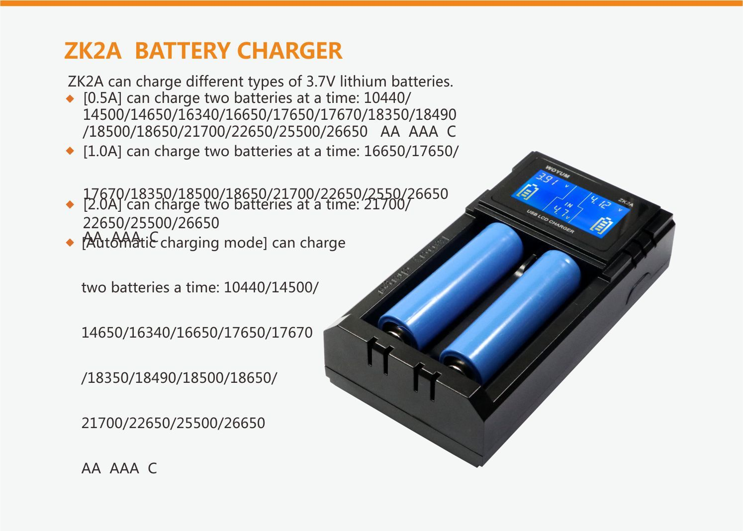 Woyum smart battery charger series for Li-ion
